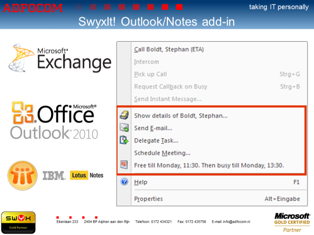 SwyxIt! Outlook Exchange en Lotus Notes add-in