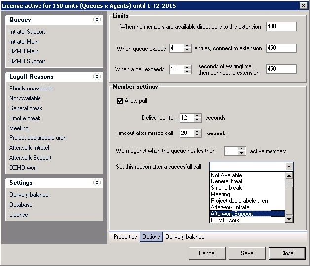 Intratel Swyxware Quecontroller admin page options